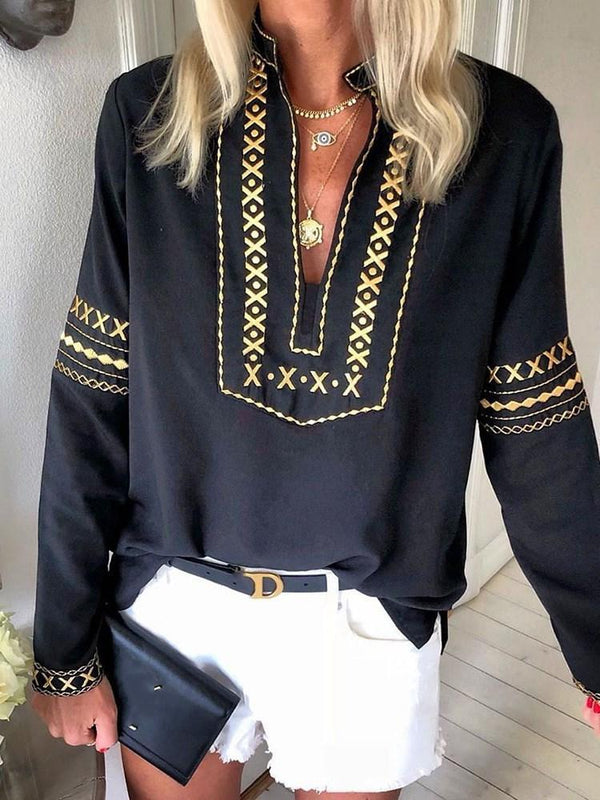 Color Block Print Long Sleeve Mid-Length Blouse