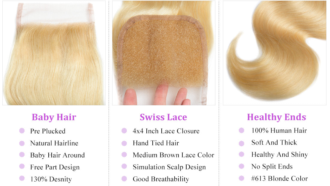 ms 613 blonde hair body wave 4x4 lace closure details image in description