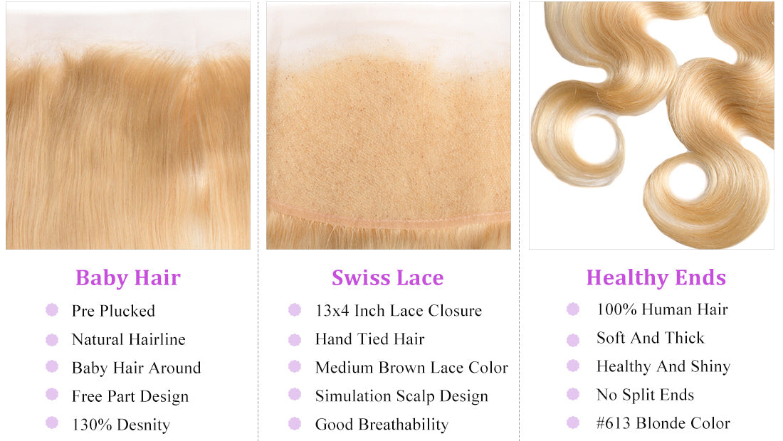 ms 613 blonde color body wave lace frontal details in description