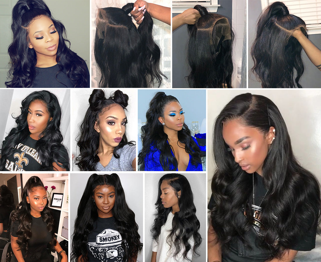 ms remy hair body wave 13x6 lace frontal image and customer show in description