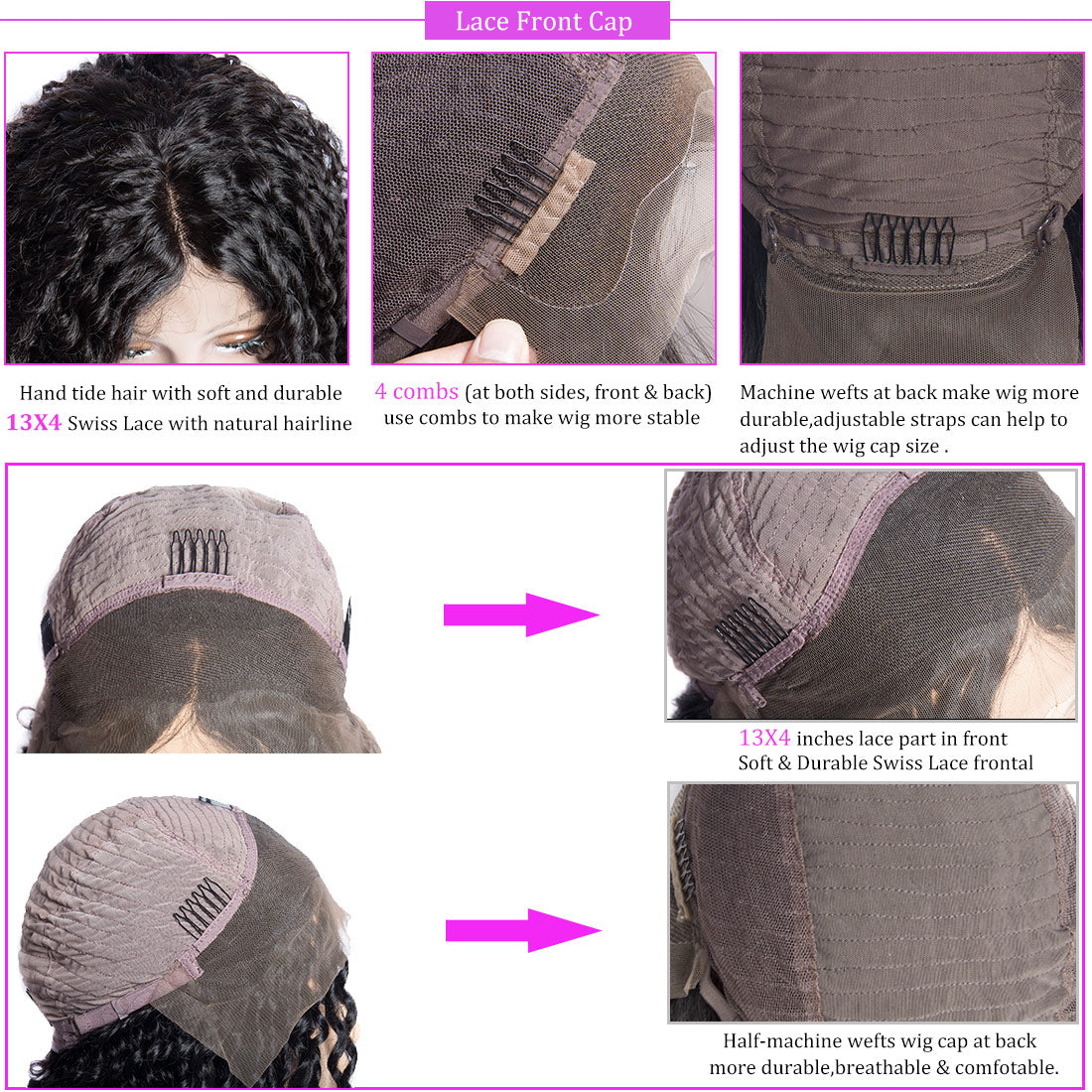 curly bob wig cap details in description