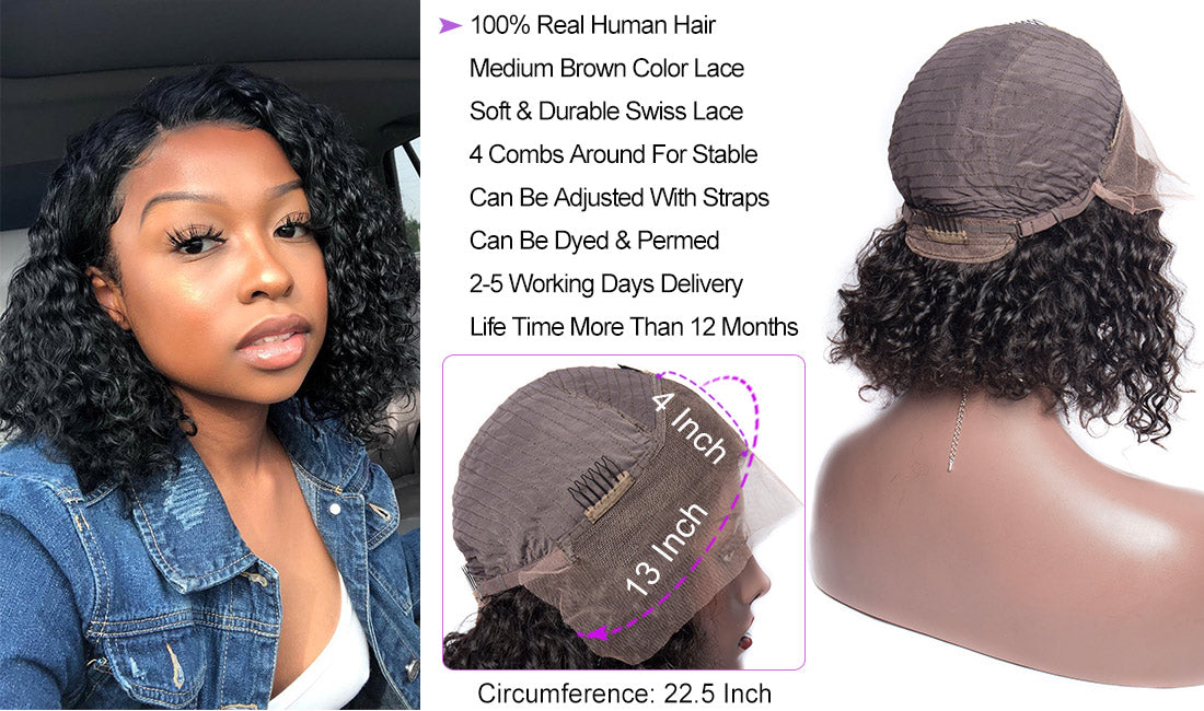 Curly Bob Wigs Remy Human Hair 13x4 Short Lace Font Wigs with cap details show in description
