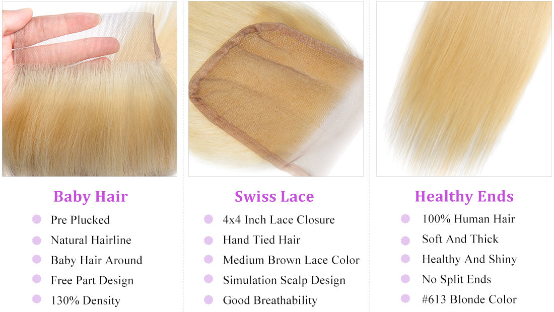 ms straight hair 613 blonde color lace closure details image in description