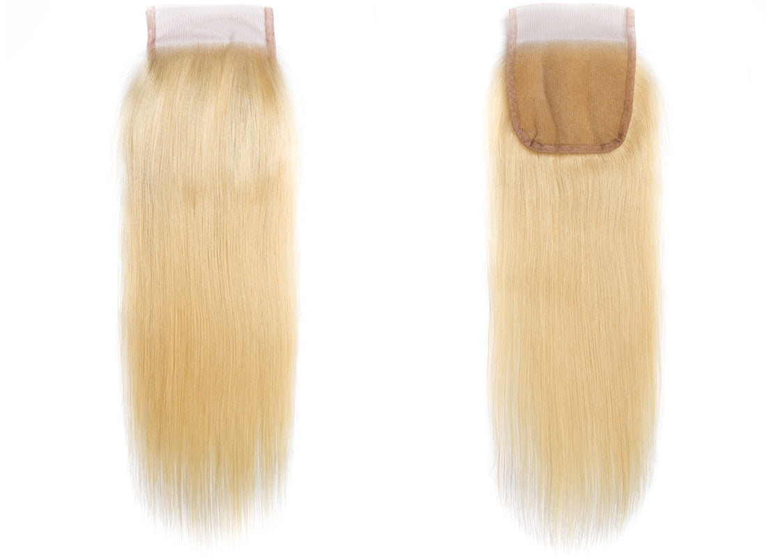 ms straight hair 613 blonde color lace closure image in description