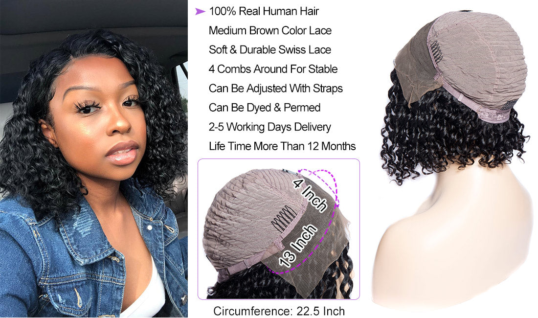 ms hair curly bob wigs cap details show in description