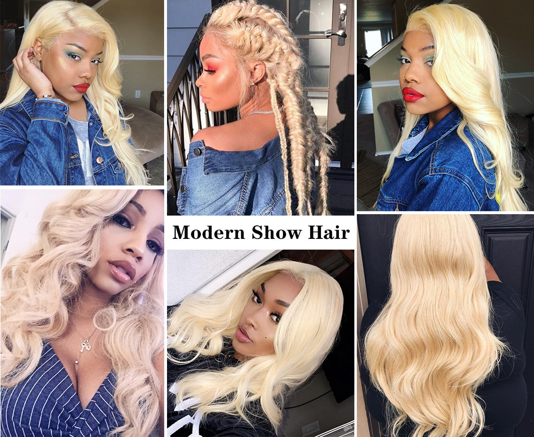 ms 613 blonde color body wave hair bundles customer share show in description