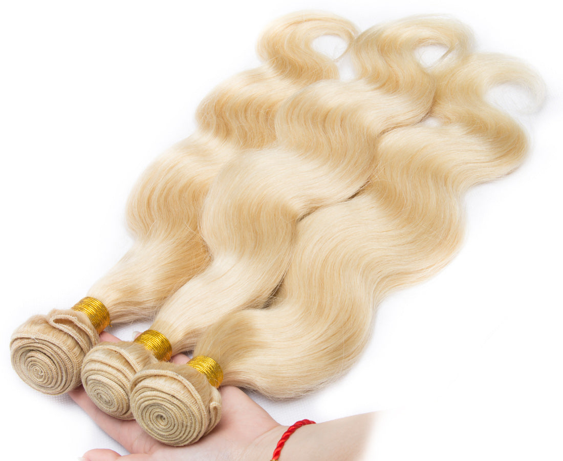 ms 613 blonde color body wave hair bundles 3 pcs show in description
