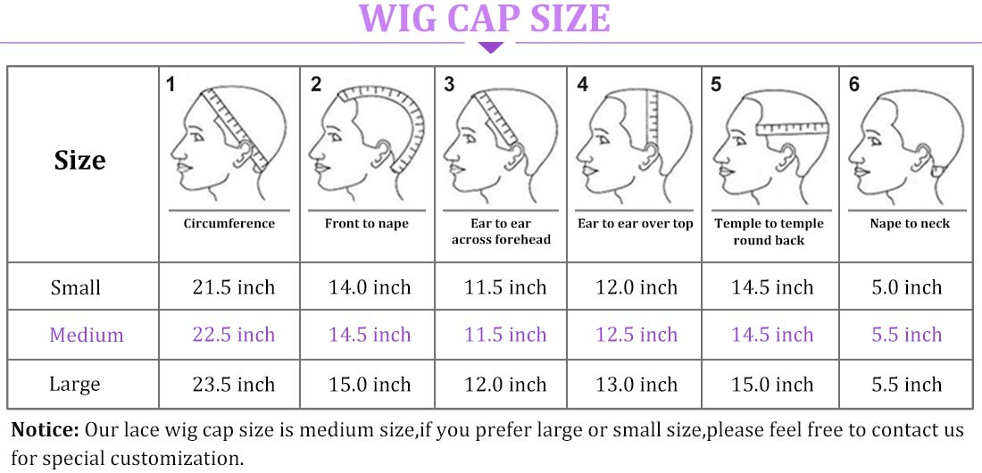 curly lace front wig cap size details in description