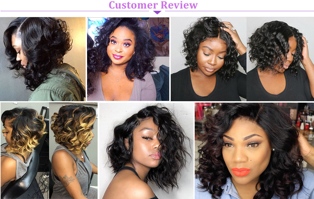 ms loose wave lace closure wig 150 density customer show in description