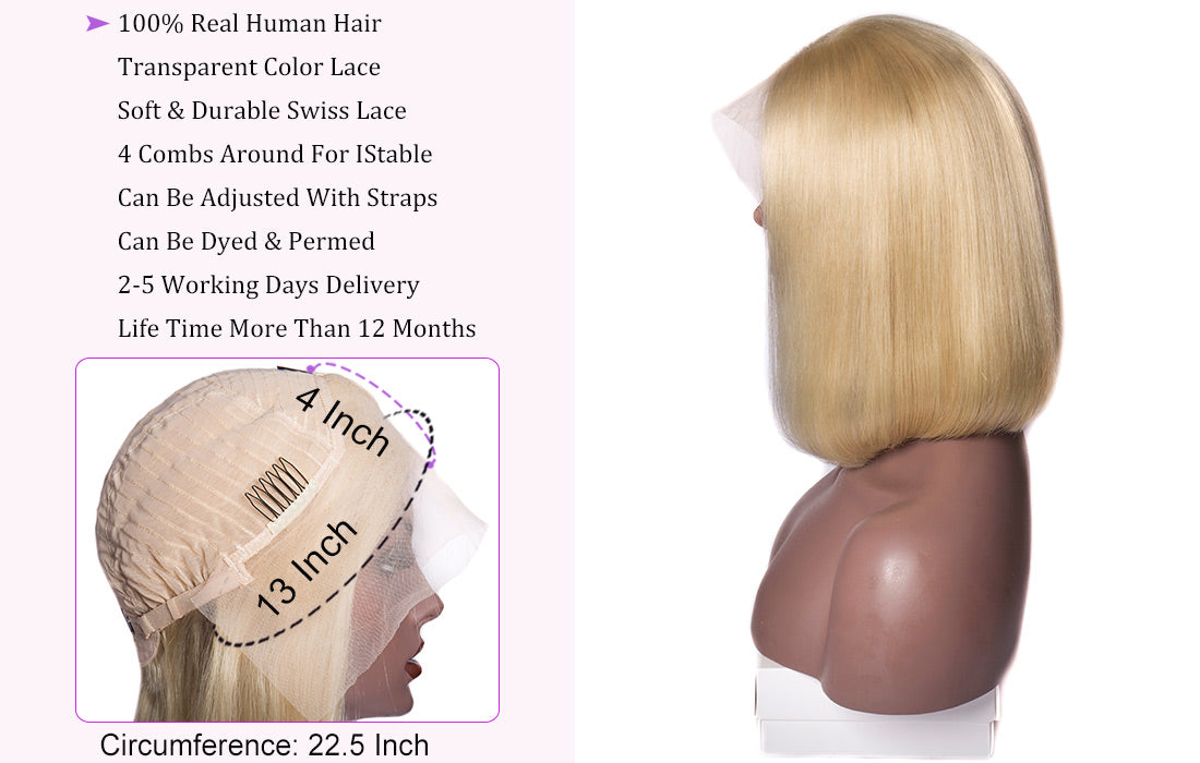ms hair 613 blonde color straight bob lace front wig lace cap show in description