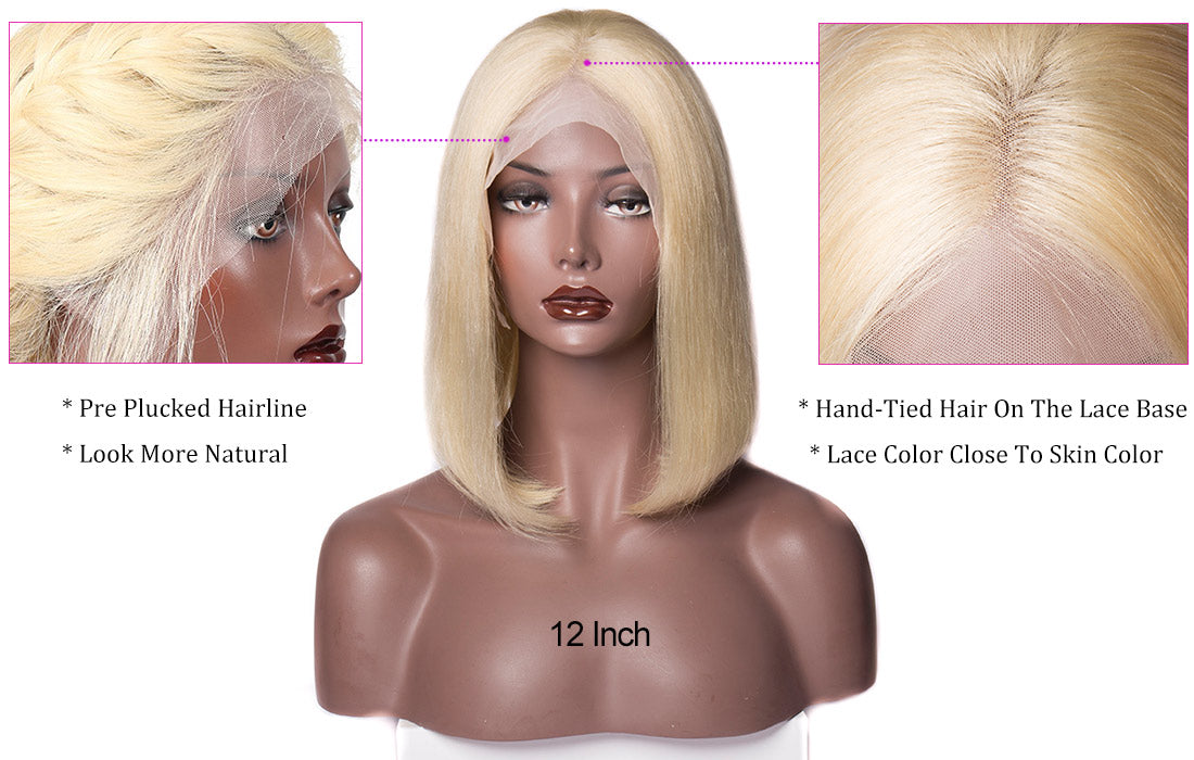 ms hair 613 blonde color straight bob lace front wig front image show in description