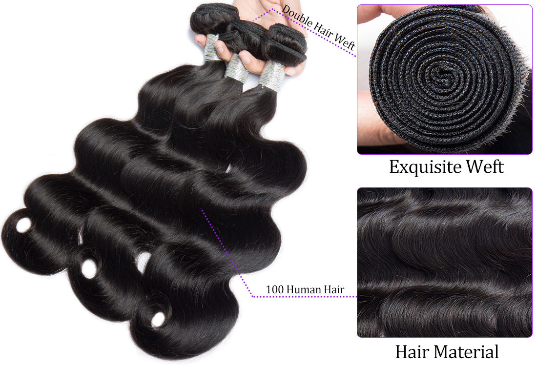 ms body wave hair weft and material show in description