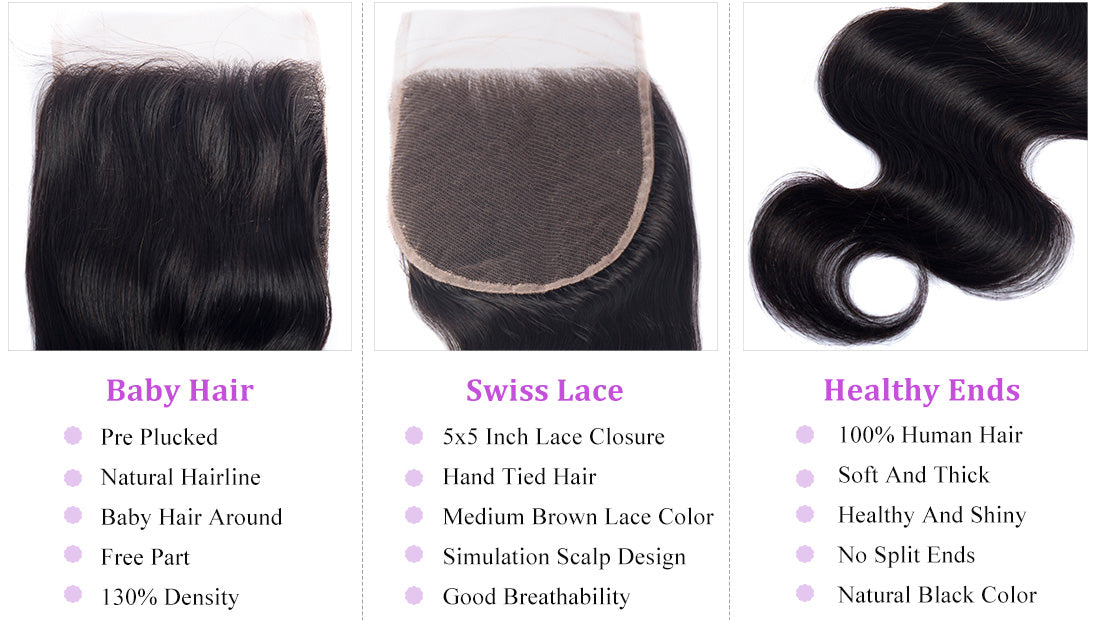ms remy hair body wave 5x5 lace closure image details show in description