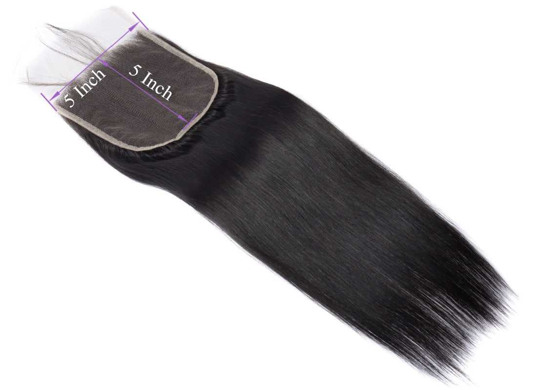 ms remy human hair straight 5x5 lace closure image lace size show in description