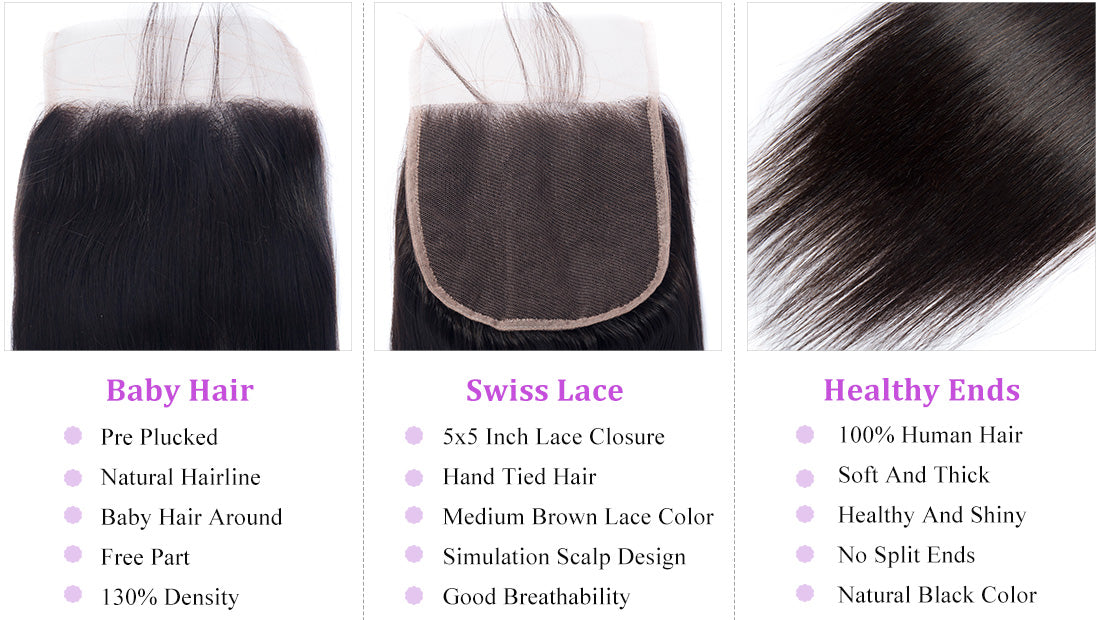 ms remy human hair straight 5x5 lace closure image closure details show in description