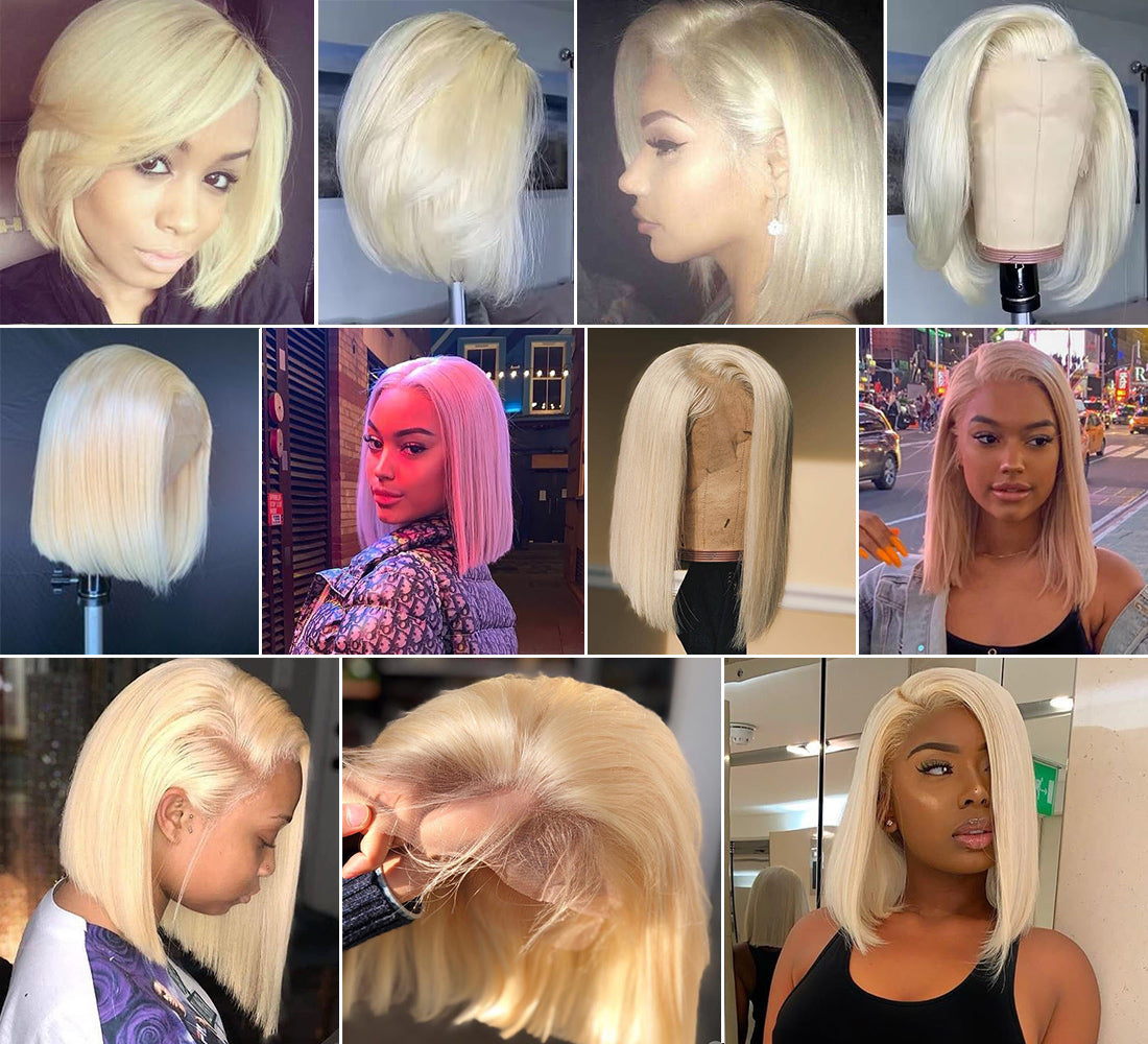 ms straight bob wig 613 blonde lace front wig image and customer show in description