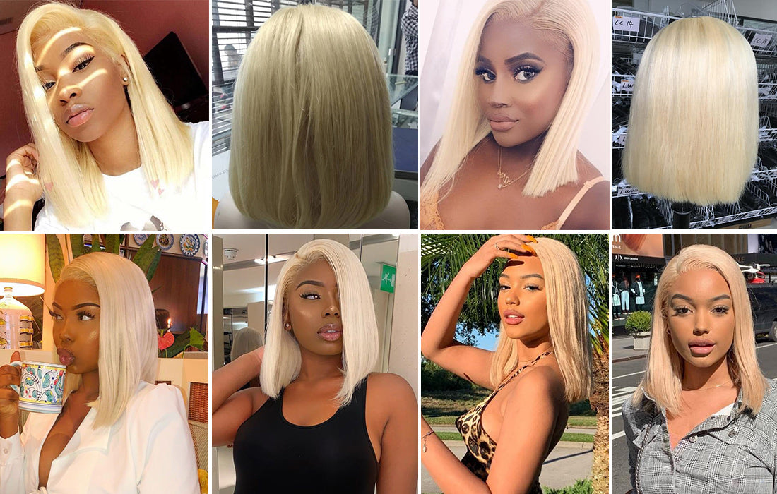 ms straight bob wig 613 blonde lace front wig customer show in description
