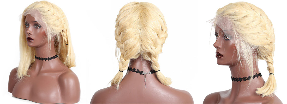 ms straight bob wig 613 blonde lace front wig braids in description