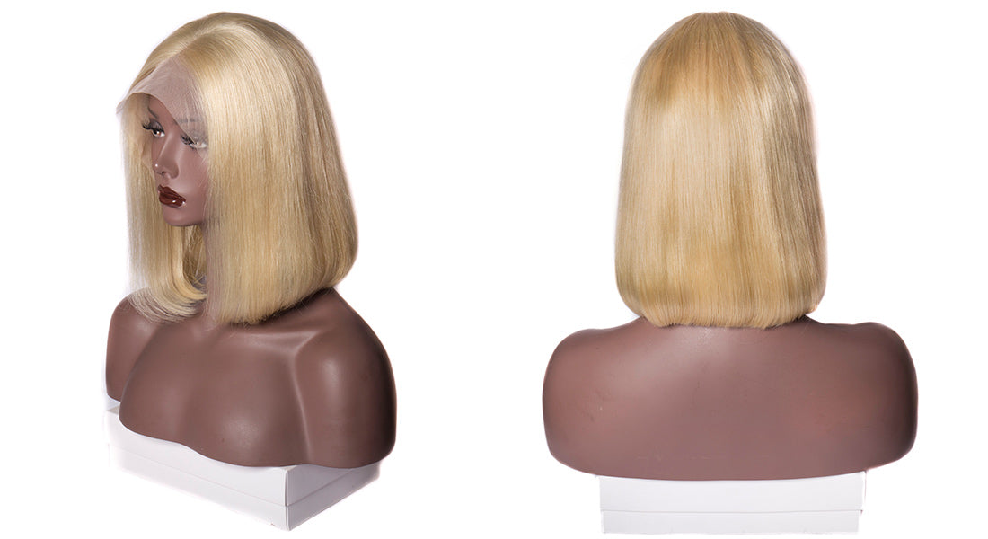 ms straight bob wig 613 blonde lace front wig side show in description