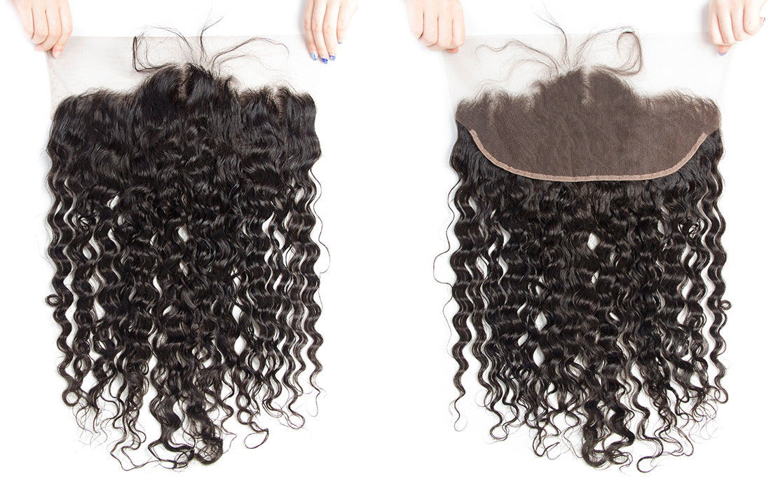 ms remy hair water wave 13x6 lace frontal closure image in description