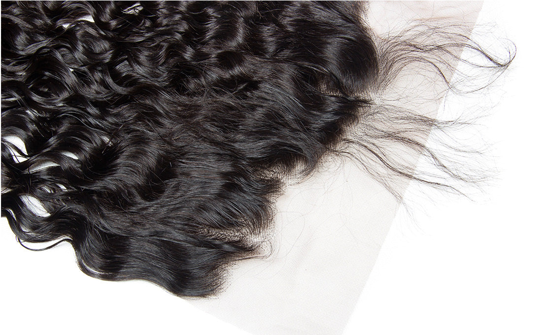 ms remy hair water wave 13x6 lace frontal closure image pre plucked frontal in description