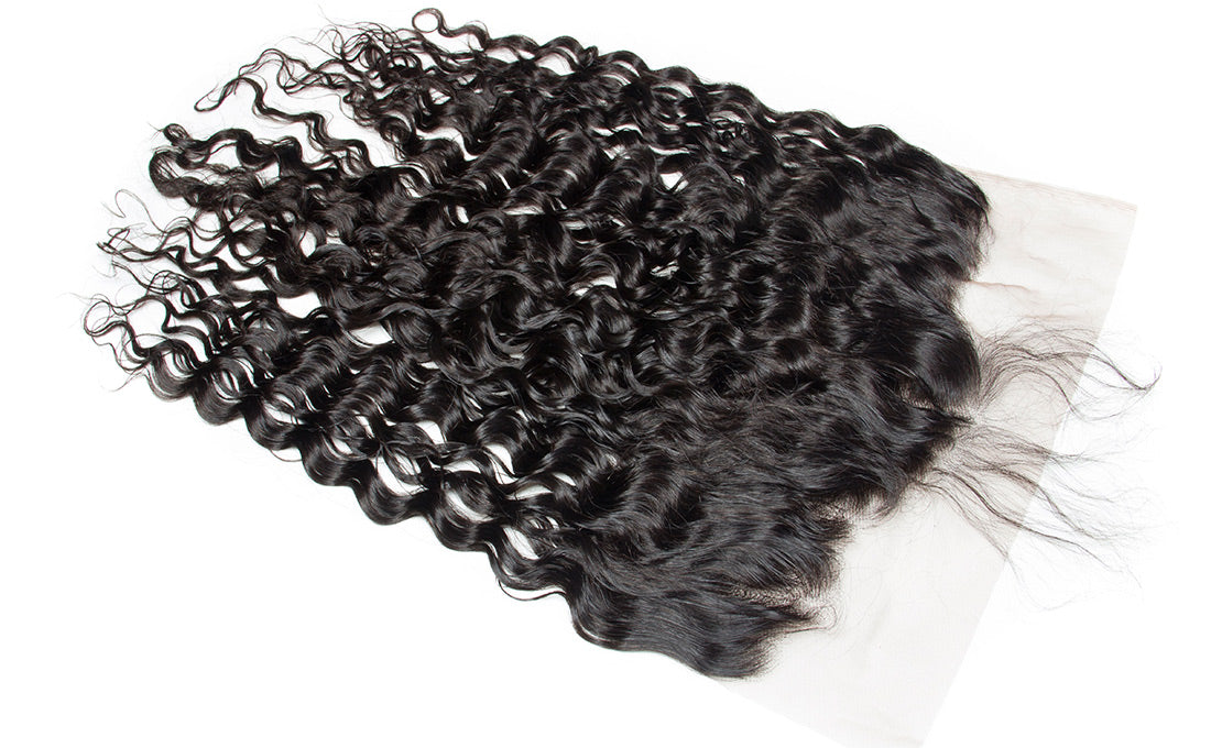 ms remy hair water wave 13x6 lace frontal closure image baby hair show in description