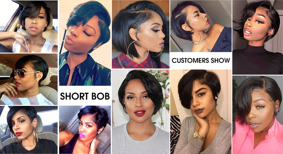 ms short bob wig pixie cut wig 13x4 lace front human hair wig customer show in description