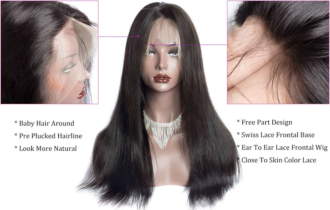 ms straight 360 lace frontal wigs hair front show in description