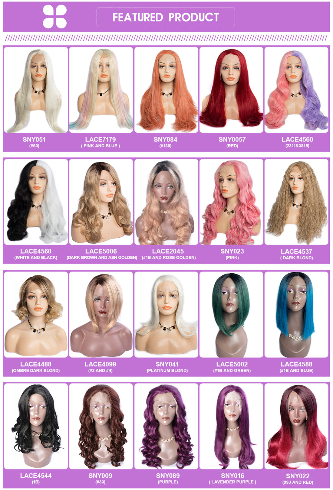 synthetic lace wigs featured colored synthetic wigs show in description