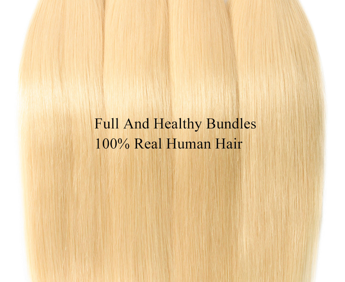 ms hair blonde color #613 straight hair bundles texture in description