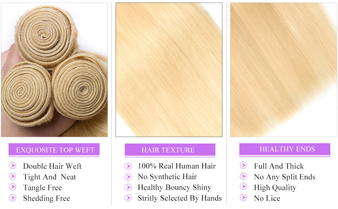 ms hair blonde color #613 straight hair bundles details in description
