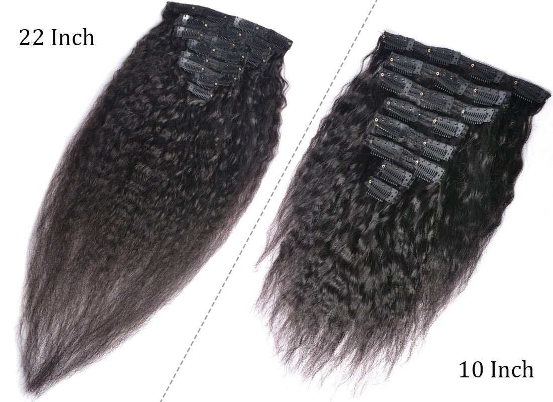 MS hair yaki straight human hair clips in hair extensions 10 inch and 22 inch in description