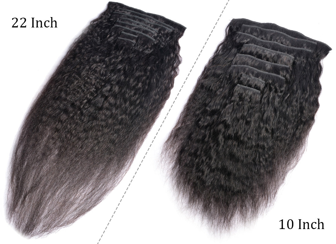 MS hair yaki straight human hair clips in hair extensions 10-22 inch in description