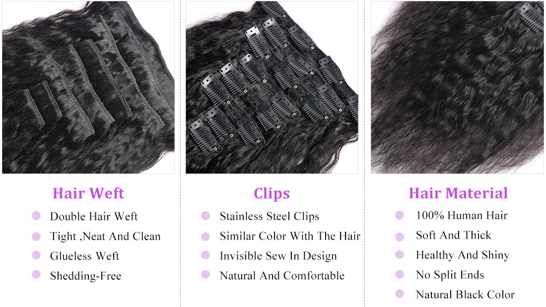 MS hair yaki straight human hair clips in hair extensions details in description