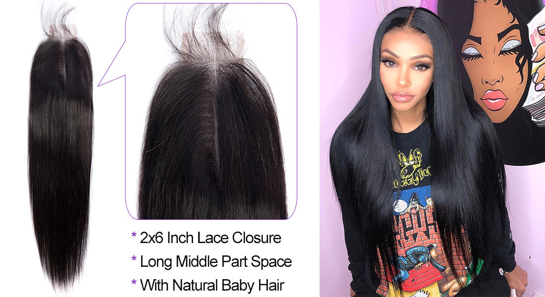 ms straight human hair 2x6 inch lace closure baby hair show in description