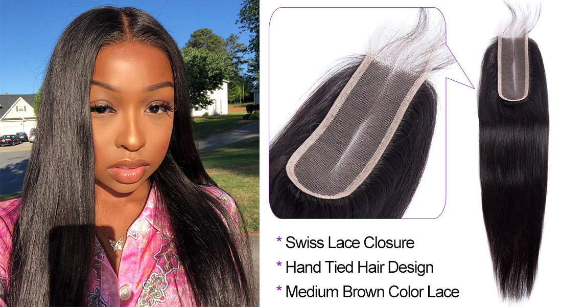 ms straight human hair 2x6 inch lace closure middle part show in description