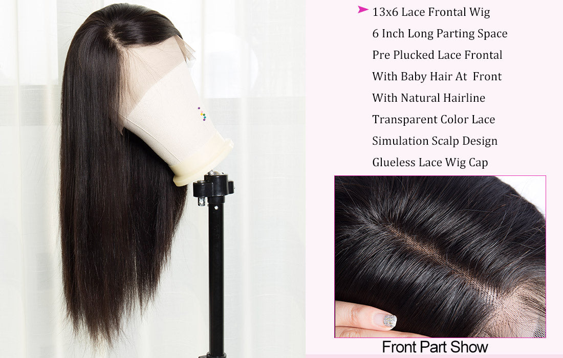 wms modern show hair straight human hair 13x6 transparent lace frontal wig hairline show in description