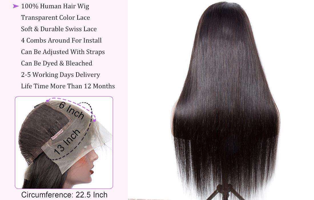 wms modern show hair straight human hair 13x6 transparent lace frontal wig lace wig cap show in description