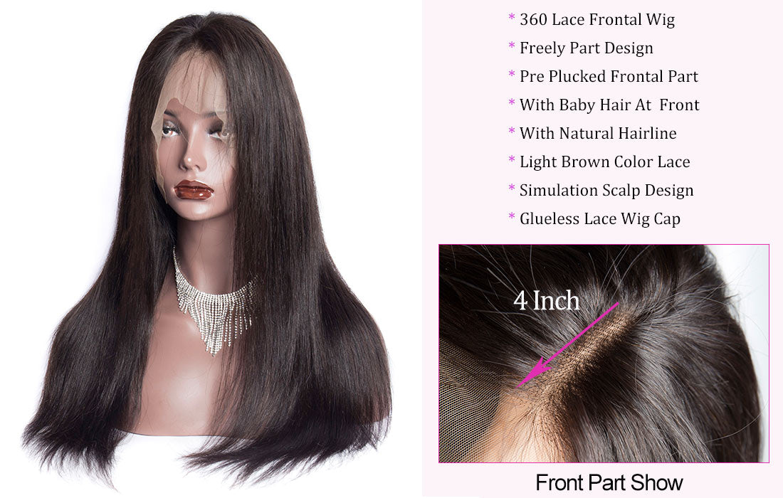 ms straight 360 lace frontal wigs hair front hairline show in description