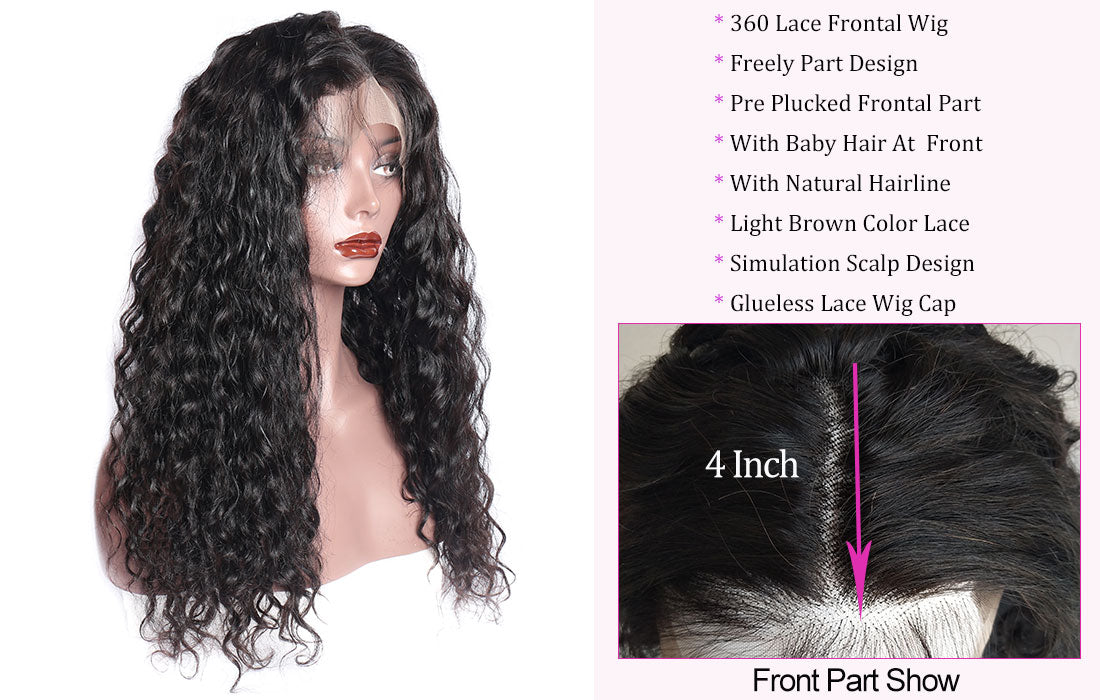 ms new water wave hair 360 lace wigs hairline show in description