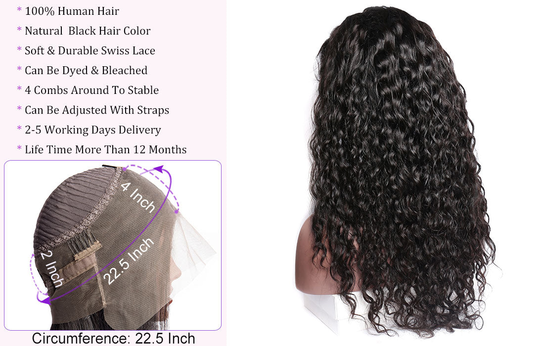ms new water wave hair 360 lace wigs wig cap show in description