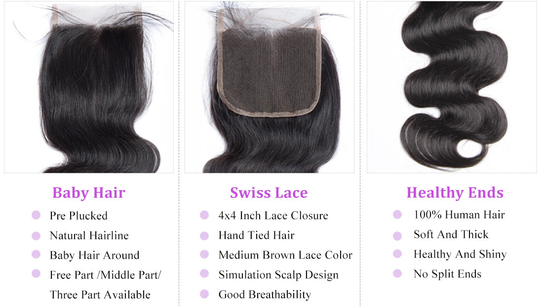 remy body wave human hair lace closure details in description