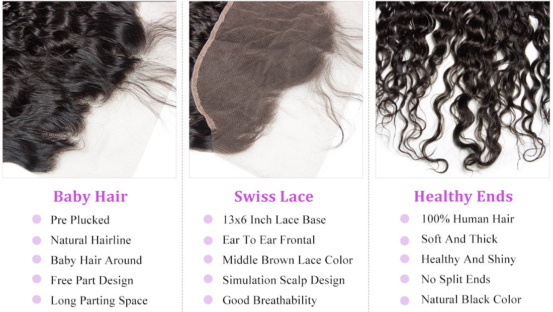 ms remy hair water wave 13x6 lace frontal closure image details in description