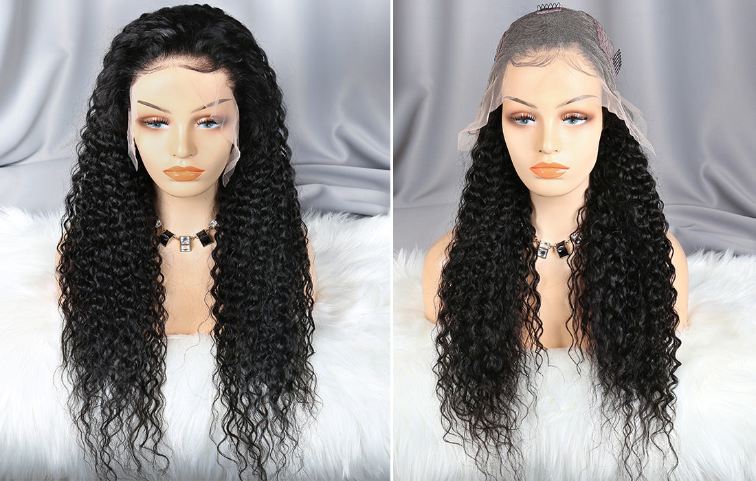 ms remy human hair curly 13x6 transparent lace front wigs front and cap show in description