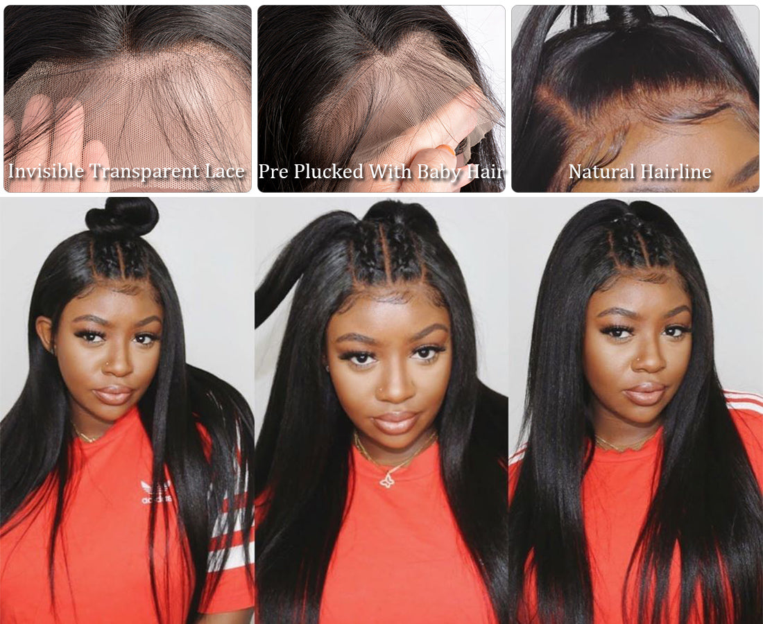 ms remy hair 13x6 transparent lace front wigs straight wigs hairline show in description