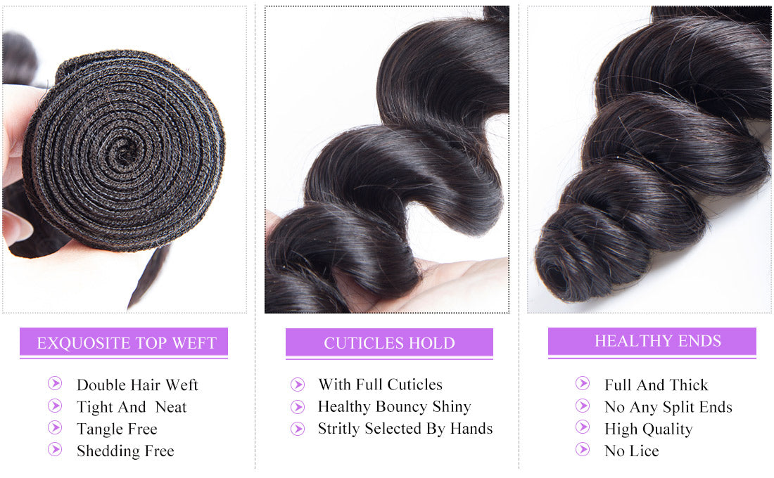 remy loose wave human hair bundles details in description