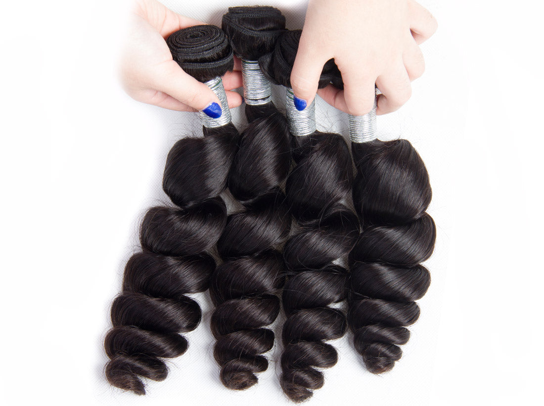 remy loose wave human hair bundles 4 pcs show in description