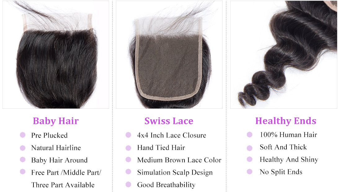 remy loose wave human hair lace closure in description