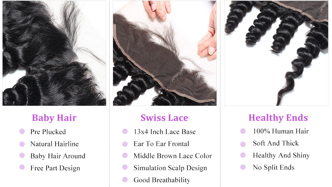 remy loose wave human hair lace frontal details in description