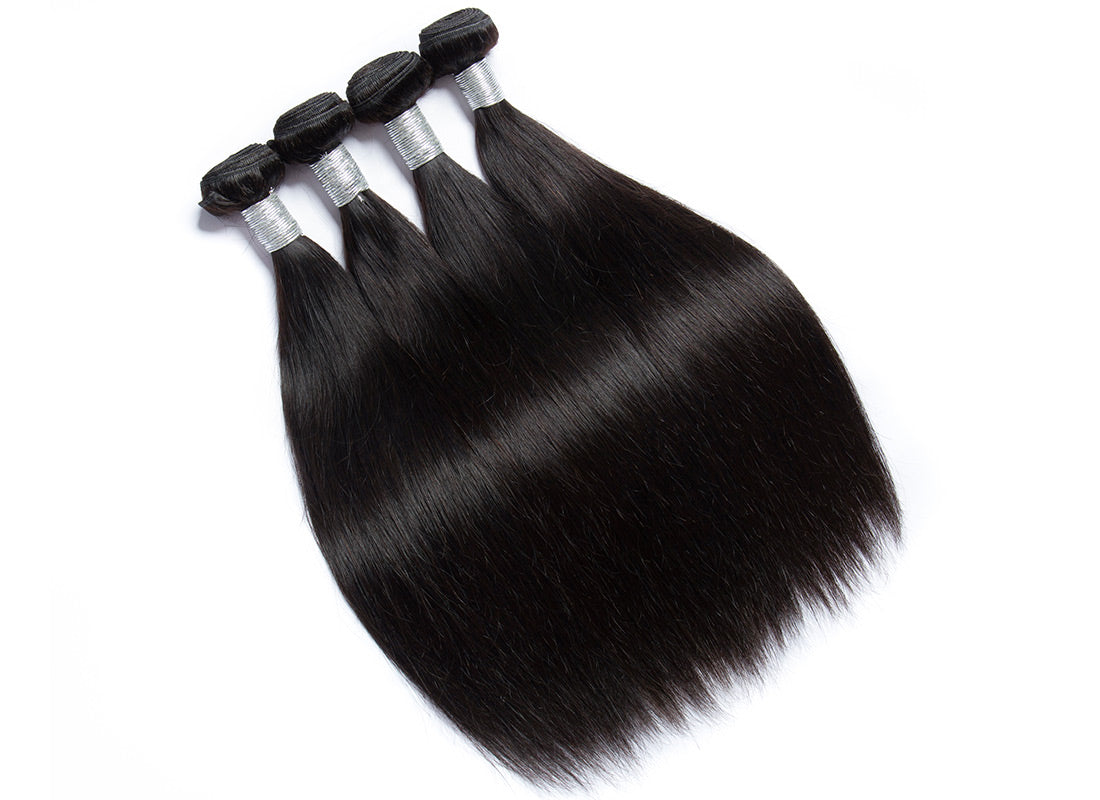 remy straight human hair 4 bundles in description